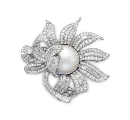A MABÉ PEARL AND DIAMOND FLOWE