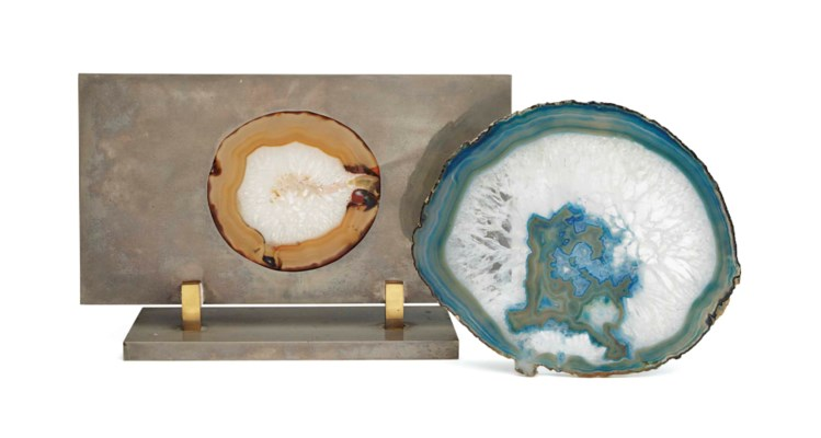 A SILVERED METAL MOUNTED GEODE