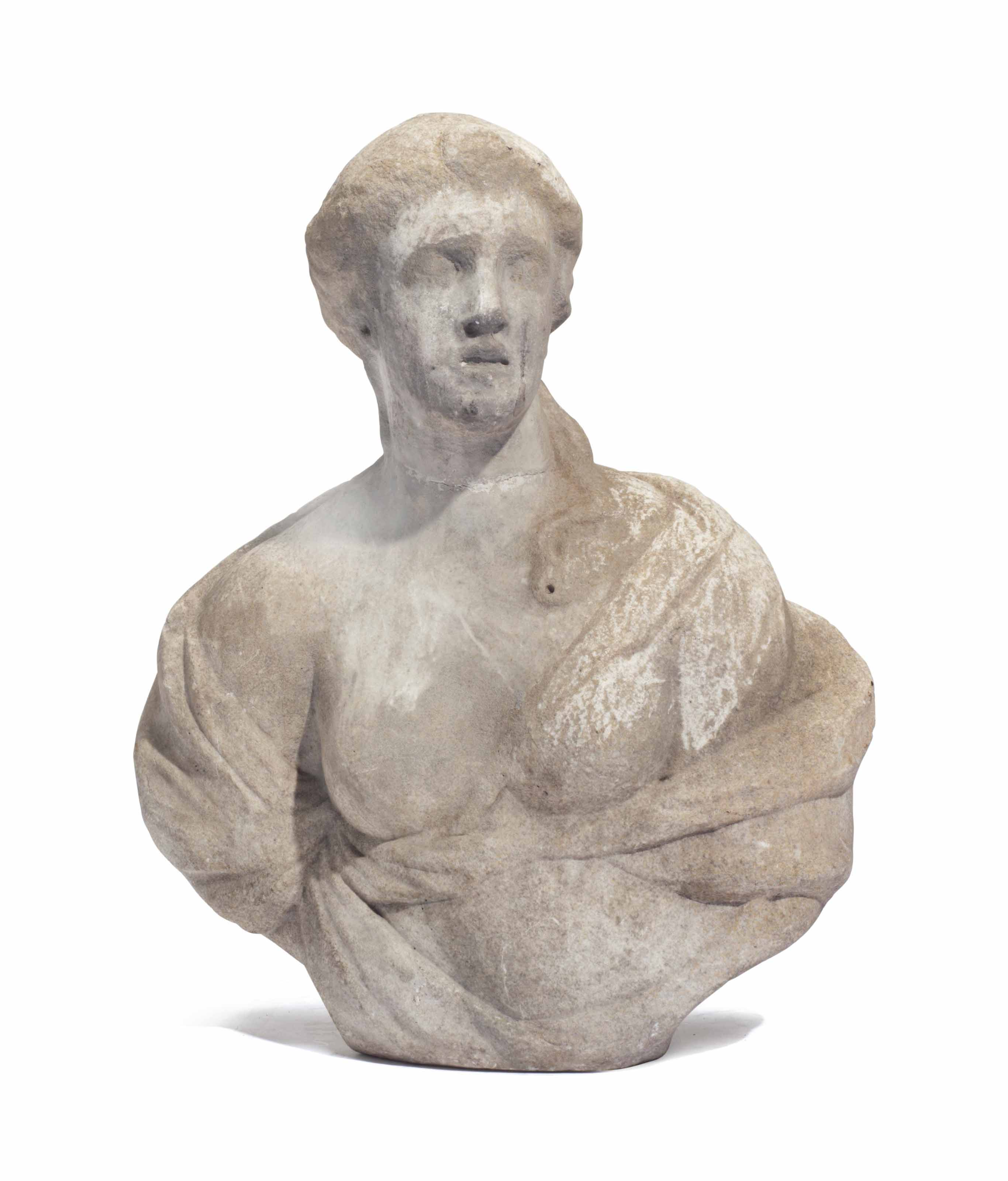 A MARBLE BUST OF A WOMAN