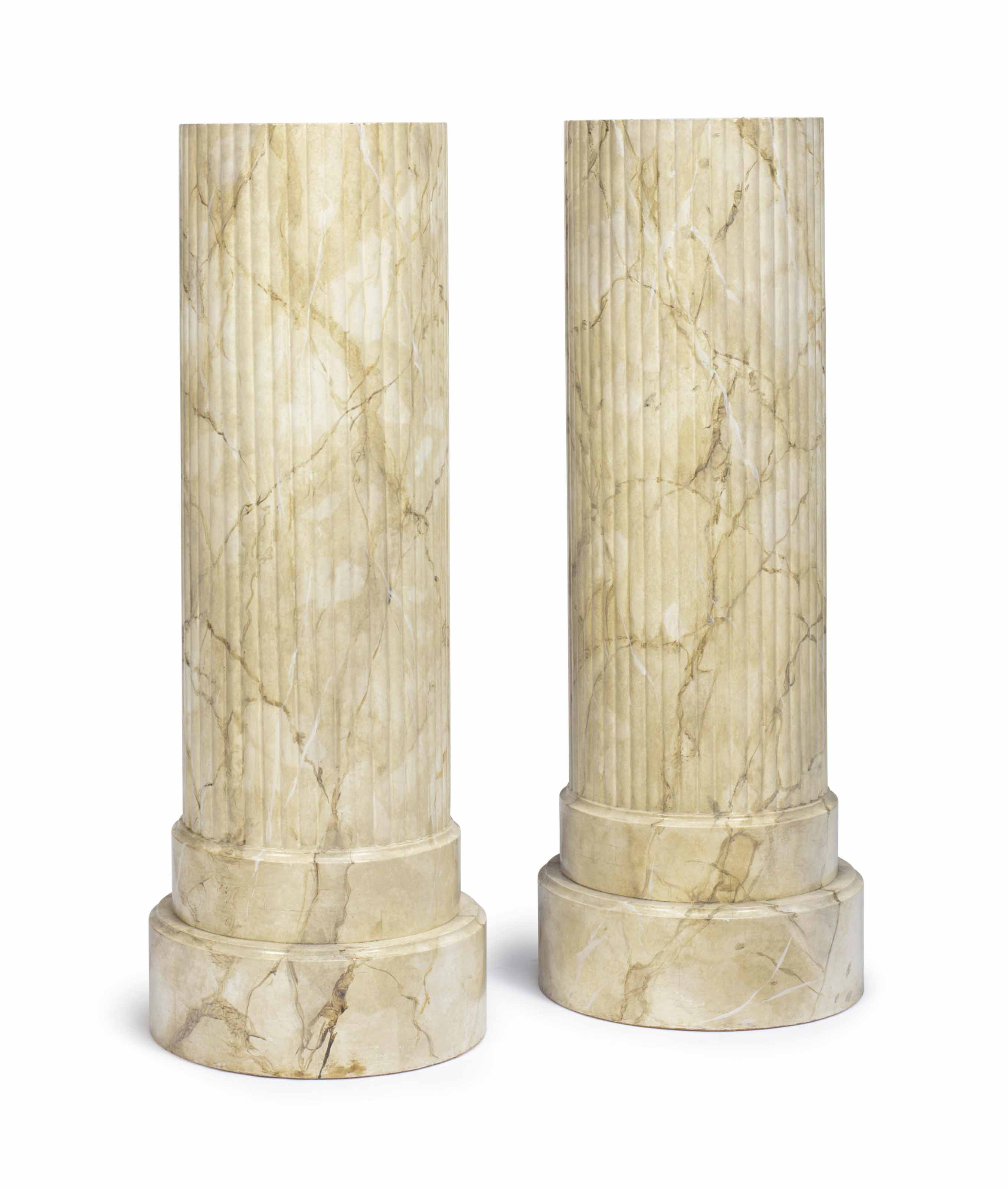 A PAIR OF FAUX-MARBLE DECORATE