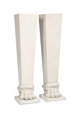 A PAIR OF CREAM-PAINTED WOOD A