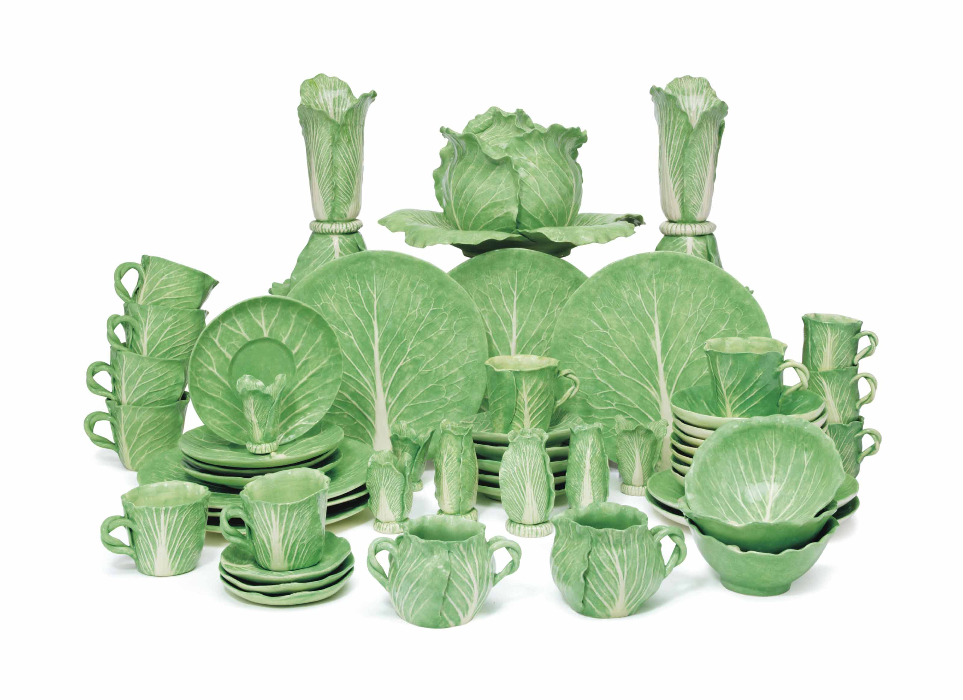 AN ASSEMBLED DODIE THAYER LETTUCE-LEAF LUNCHEON SET