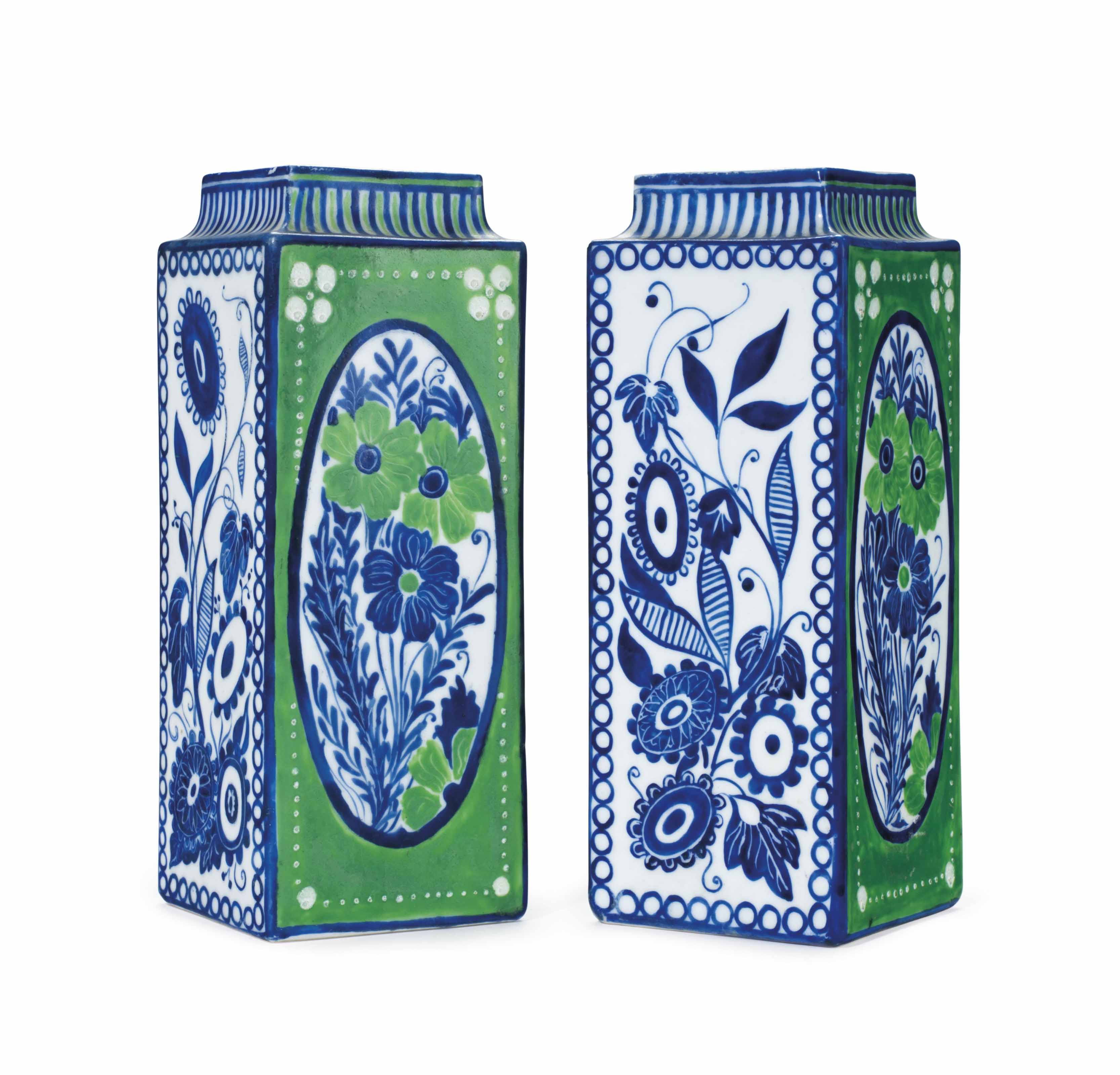A PAIR OF FRENCH BLUE AND GREEN GLAZED PORCELAIN SQUARE VASES