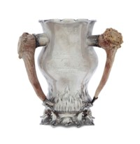 AN AMERICAN SILVER ANTLER-MOUNTED THREE-HANDLED TROPHY CUP