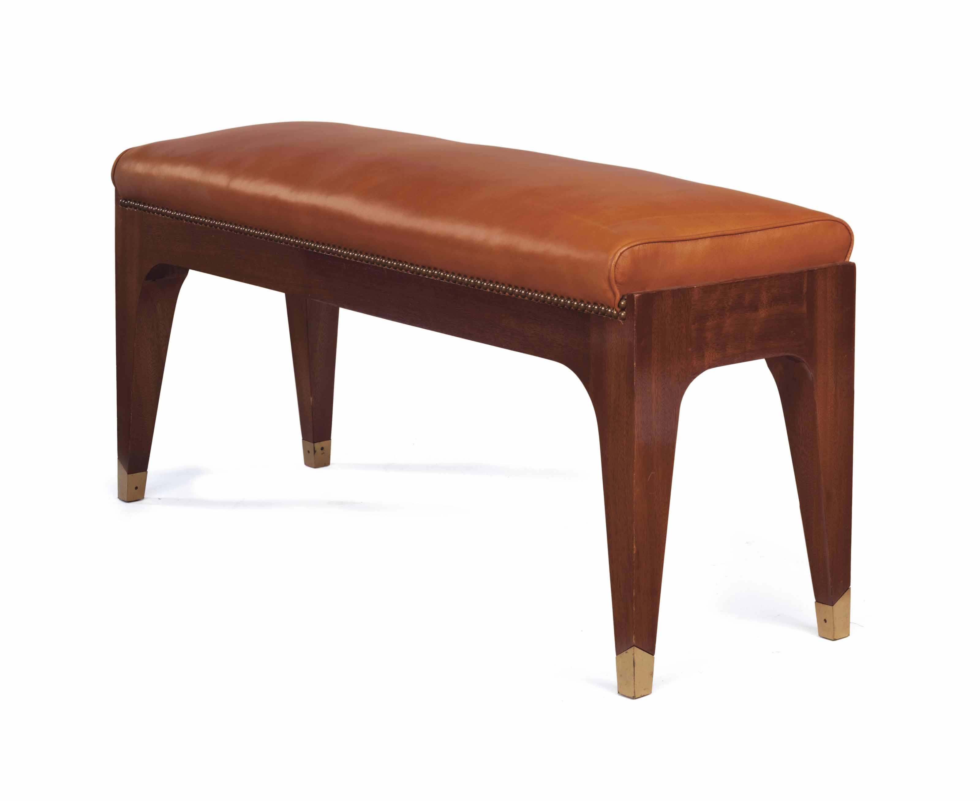 A French Brass Mounted Mahogany And Leather Upholstered Bench