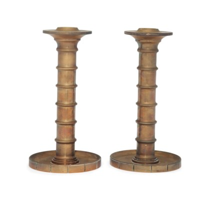 A PAIR OF DANISH BRONZE CANDLE