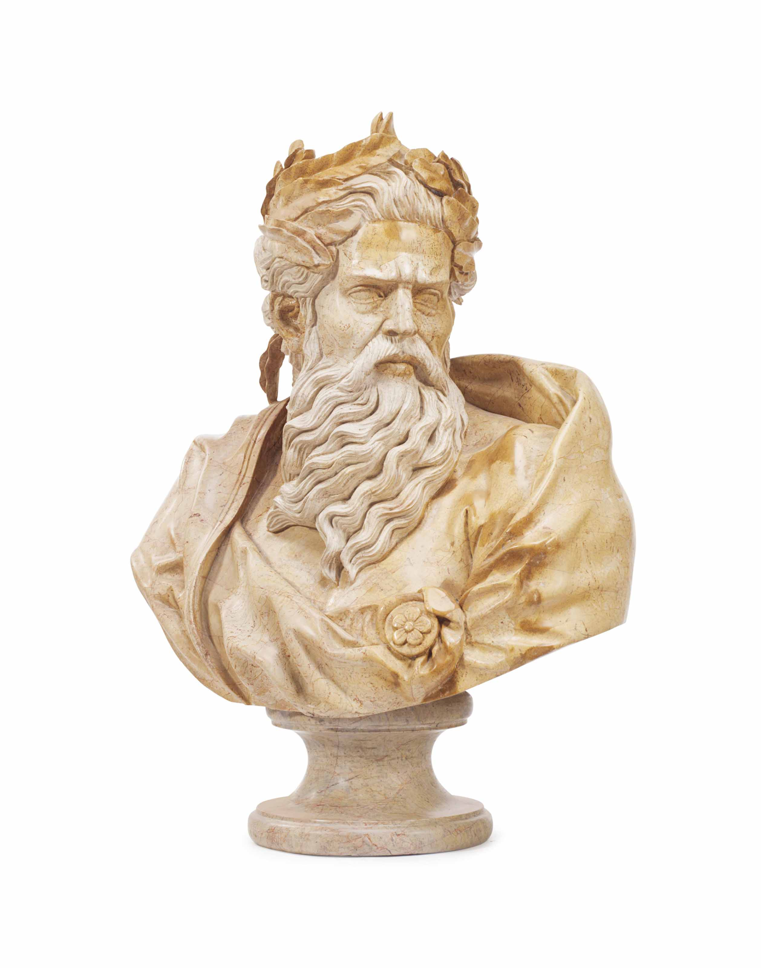 A CARVED STONE BUST OF MOSES