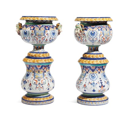 A PAIR OF ITALIAN MAJOLICA VAS
