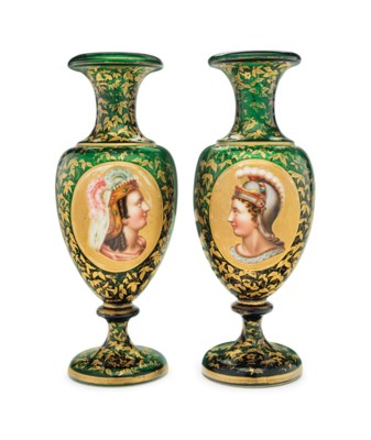 A PAIR OF BOHEMIAN GREEN GLASS