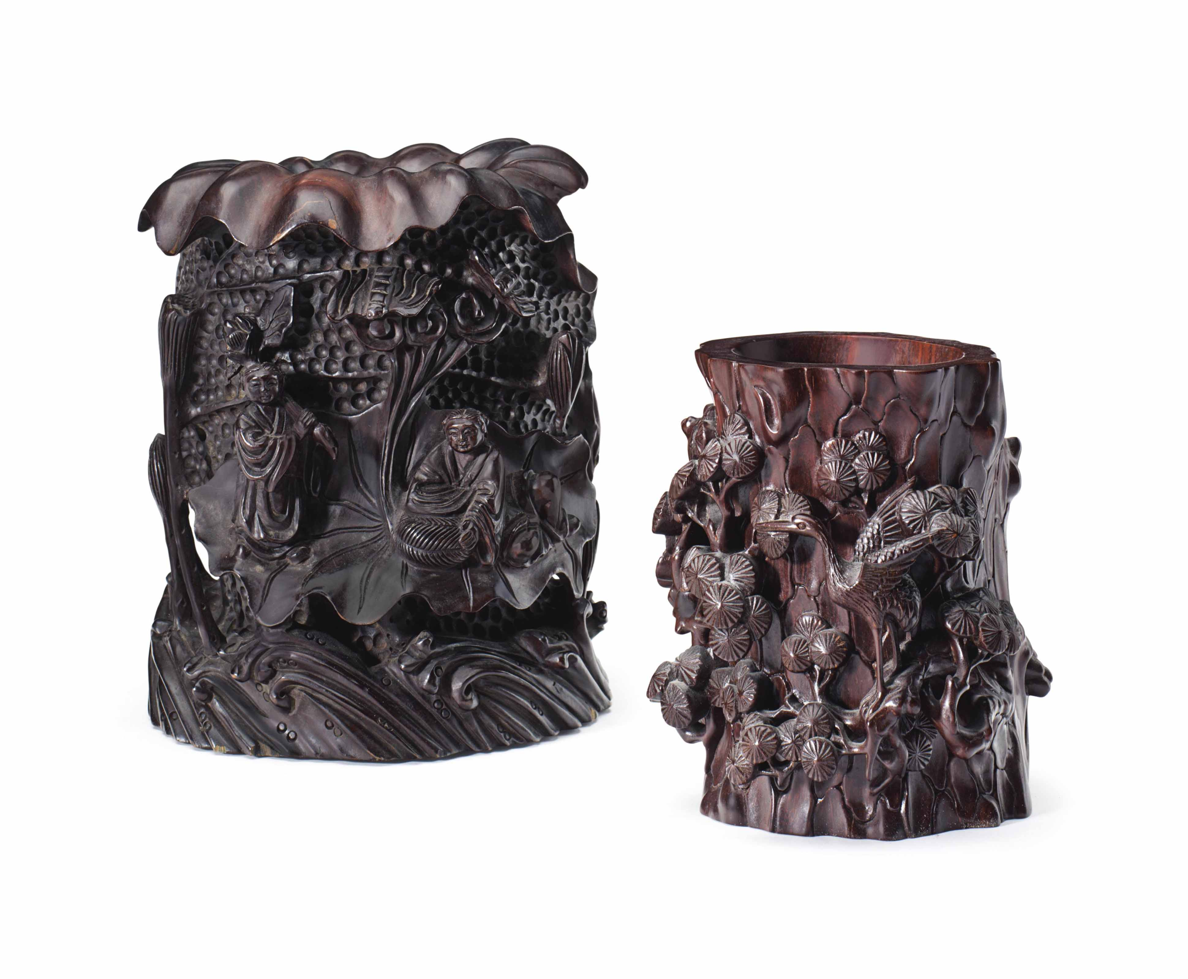 TWO CHINESE CARVED HARDWOOD BR
