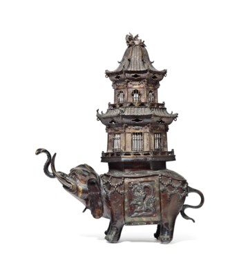 A JAPANESE BRONZE ELEPHANT-FOR