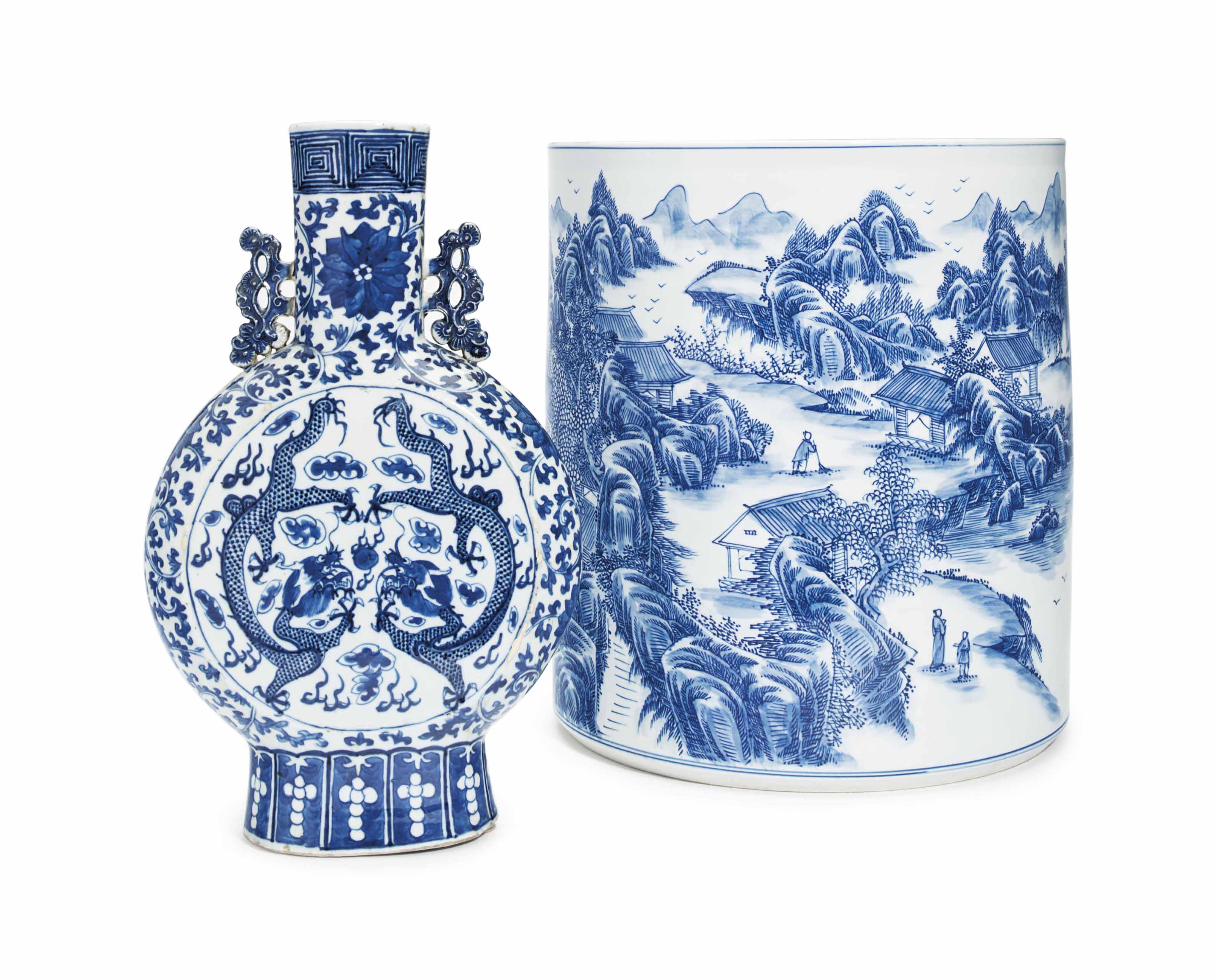A CHINESE BLUE AND WHITE MOON FLASK, AND A LARGE BLUE AND WH...