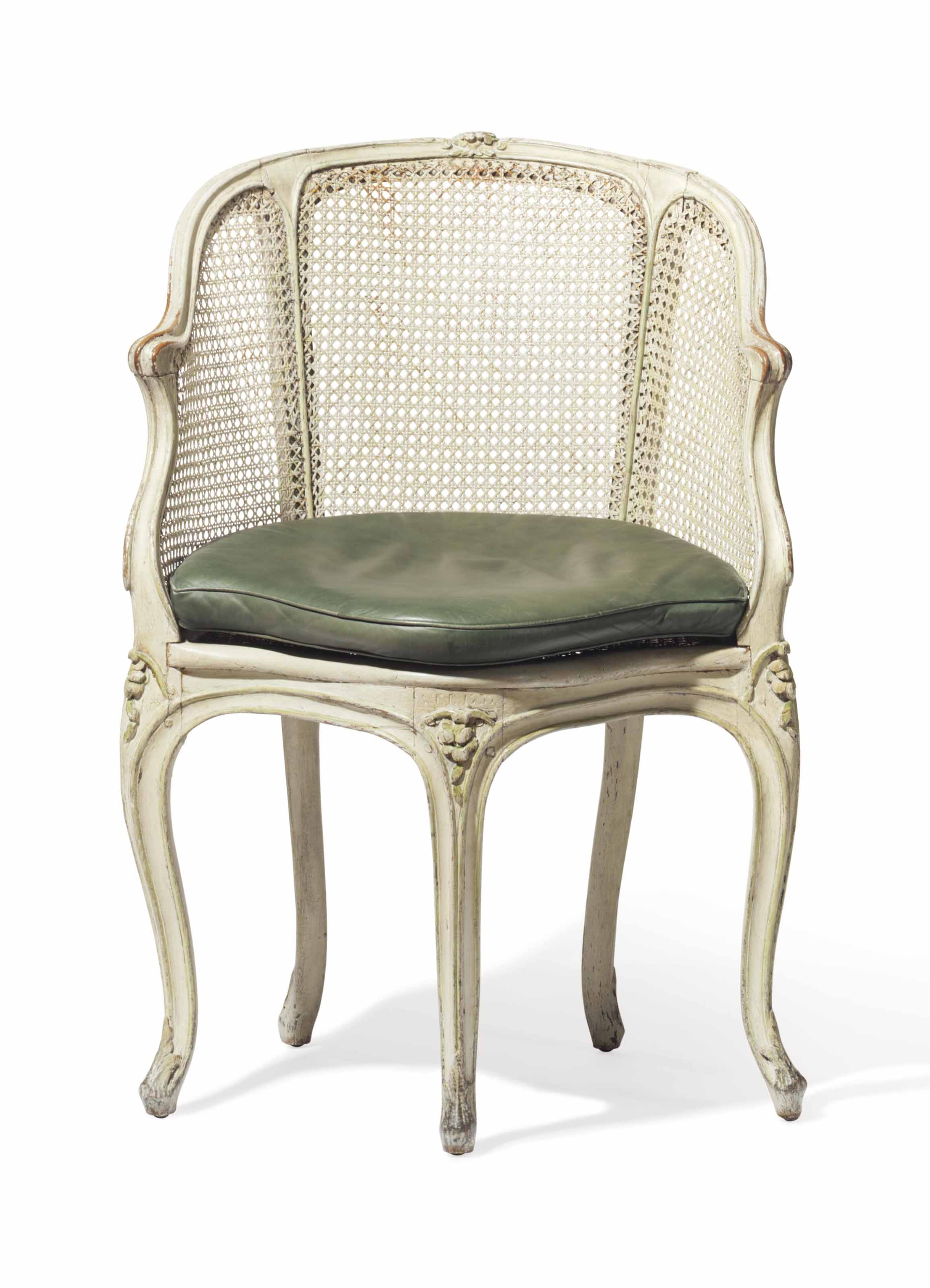 A LOUIS XV CREAM AND GREEN-PAINTED FAUTEUIL DE BUREAU