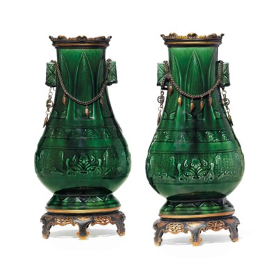 A PAIR OF GILT-METAL MOUNTED T