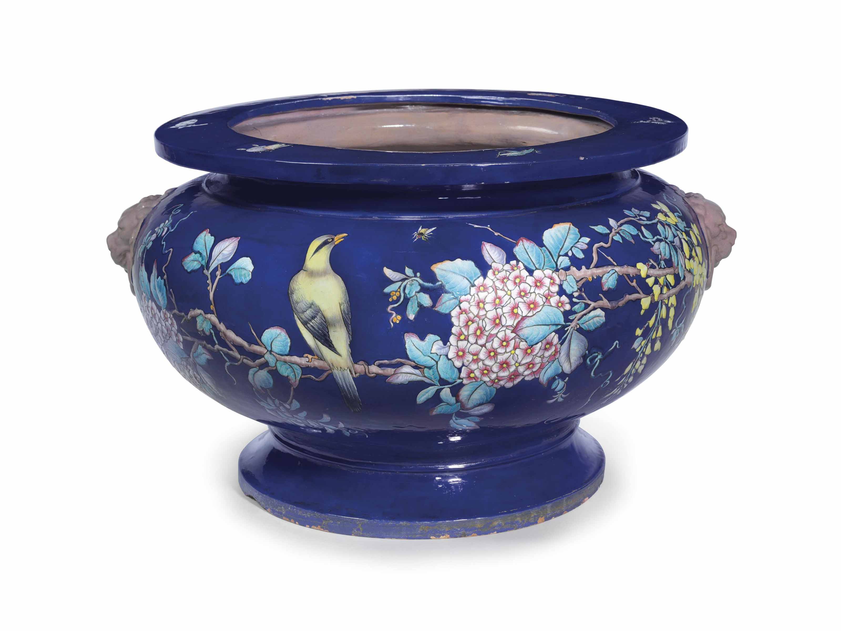 A LARGE FRENCH FAIENCE (EUGENE COLLINOT) COBALT-BLUE GROUND JARDINIERE