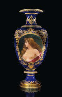A LARGE BERLIN PORCELAIN VIENNA STYLE COBALT-BLUE GROUND DOUBLE PORTRAIT VASE; 'ERBLUTH' AND 'LASSITUDE'
