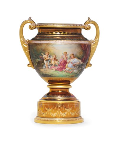 A VIENNA STYLE PORCELAIN IRIDE