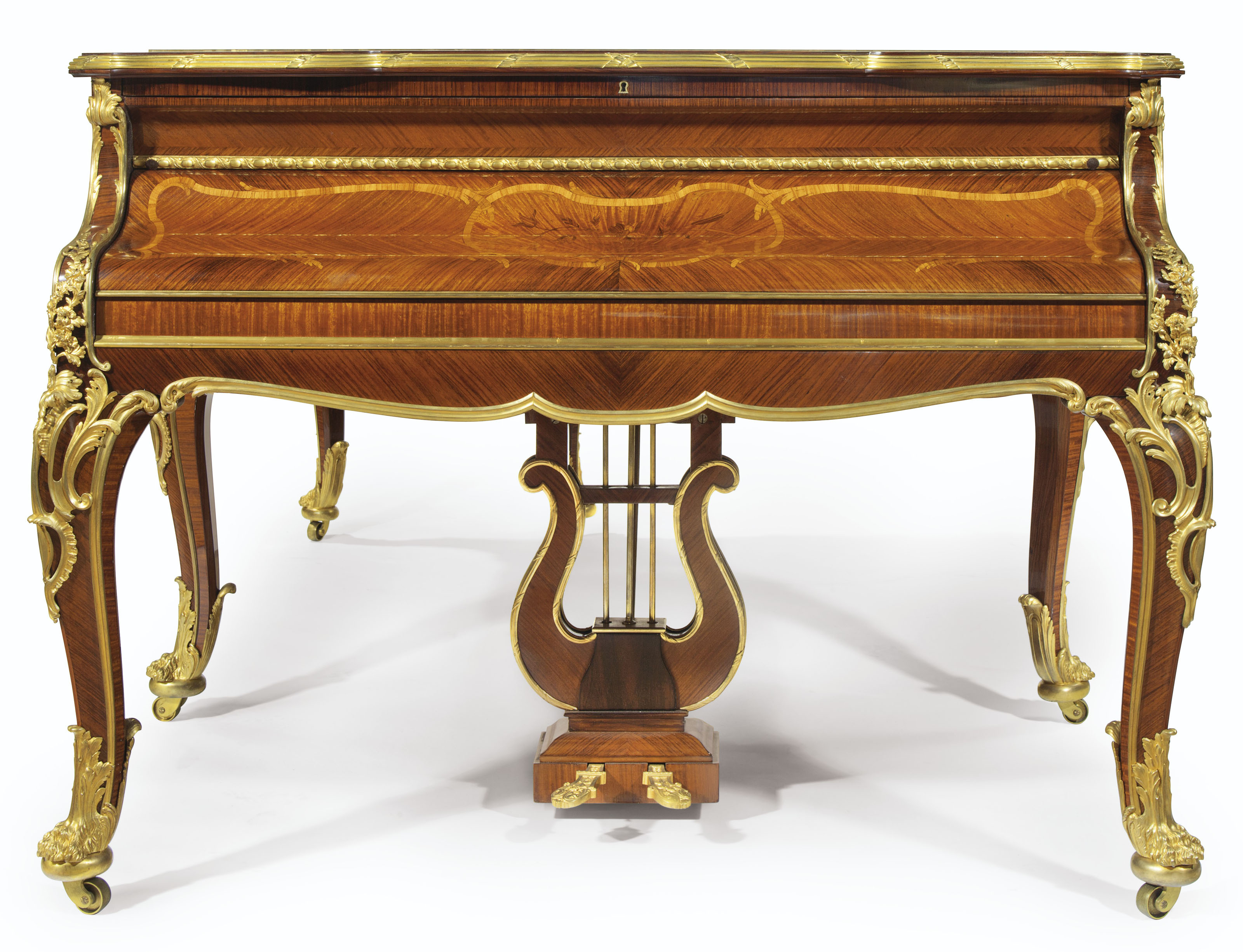 A FRENCH ORMOLU-MOUNTED KINGWOOD, SATINÉ AND BOIS DE BOUT MARQUETRY PIANO À QUEUE