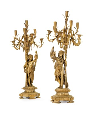A PAIR OF FRENCH ORMOLU TEN-LI