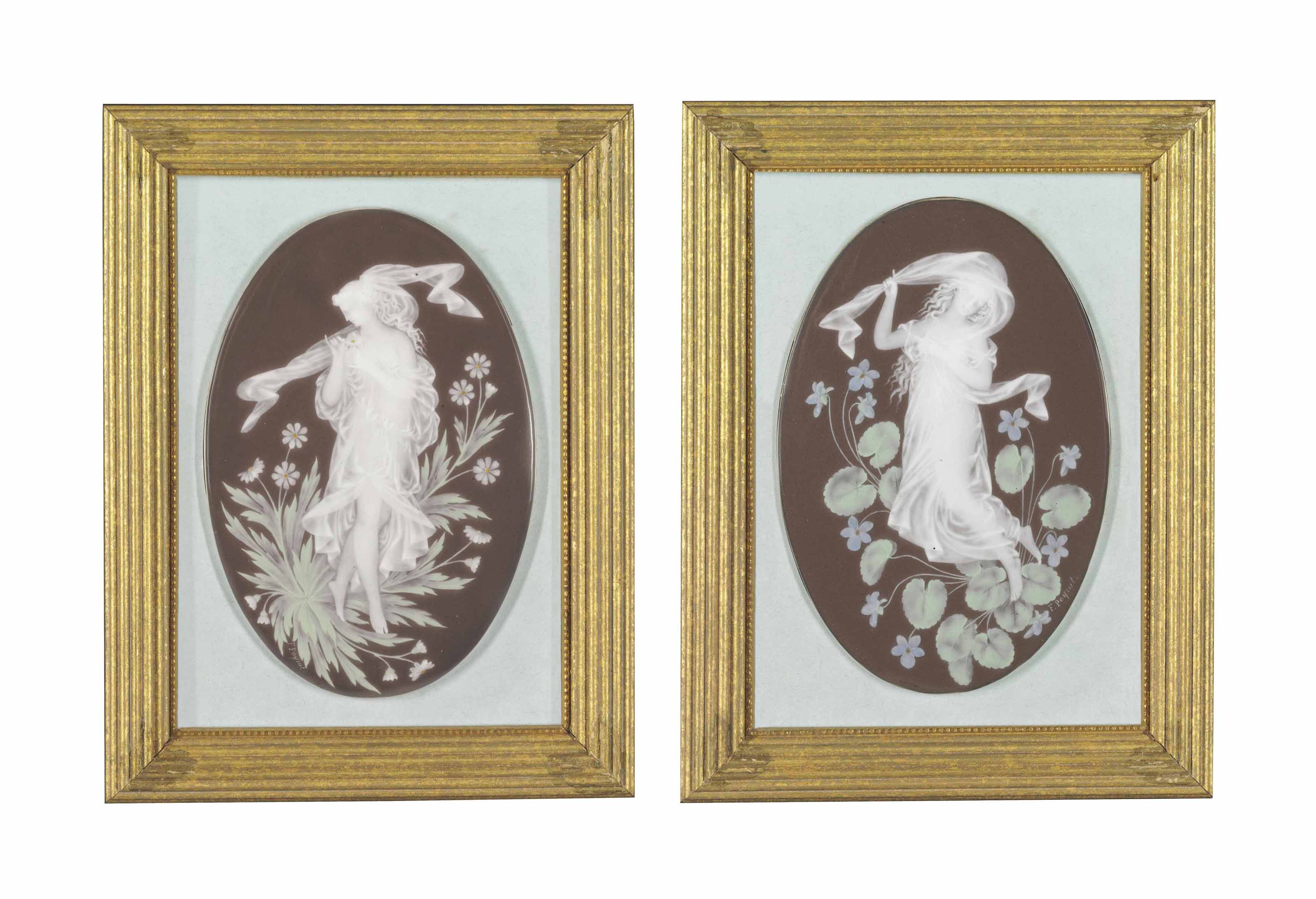 A PAIR OF LIMOGES PATE-SUR-PATE CHOCOLATE-BROWN GROUND OVAL PLAQUES