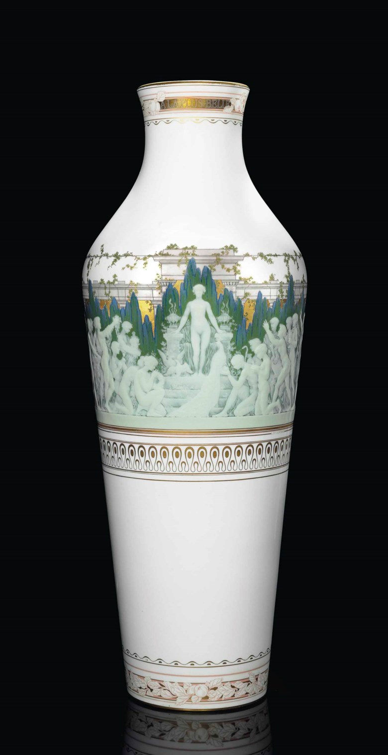 A large Sèvres porcelain pâte-sur-pâte vase, 'a la plus belle' (vase d'angers), dated 1912. Black stencilled triangle and S mark and DF Decore a Sèvres marks for 1912, gilt HU. for Henri Louis Laurent Ulrich, incised potter's I105PN, signed L.(ucien) d'Eaubonne. 36 ½  in (92.7  cm) high. Sold for $40,000 on 19 April 2016 at Christie's in New York