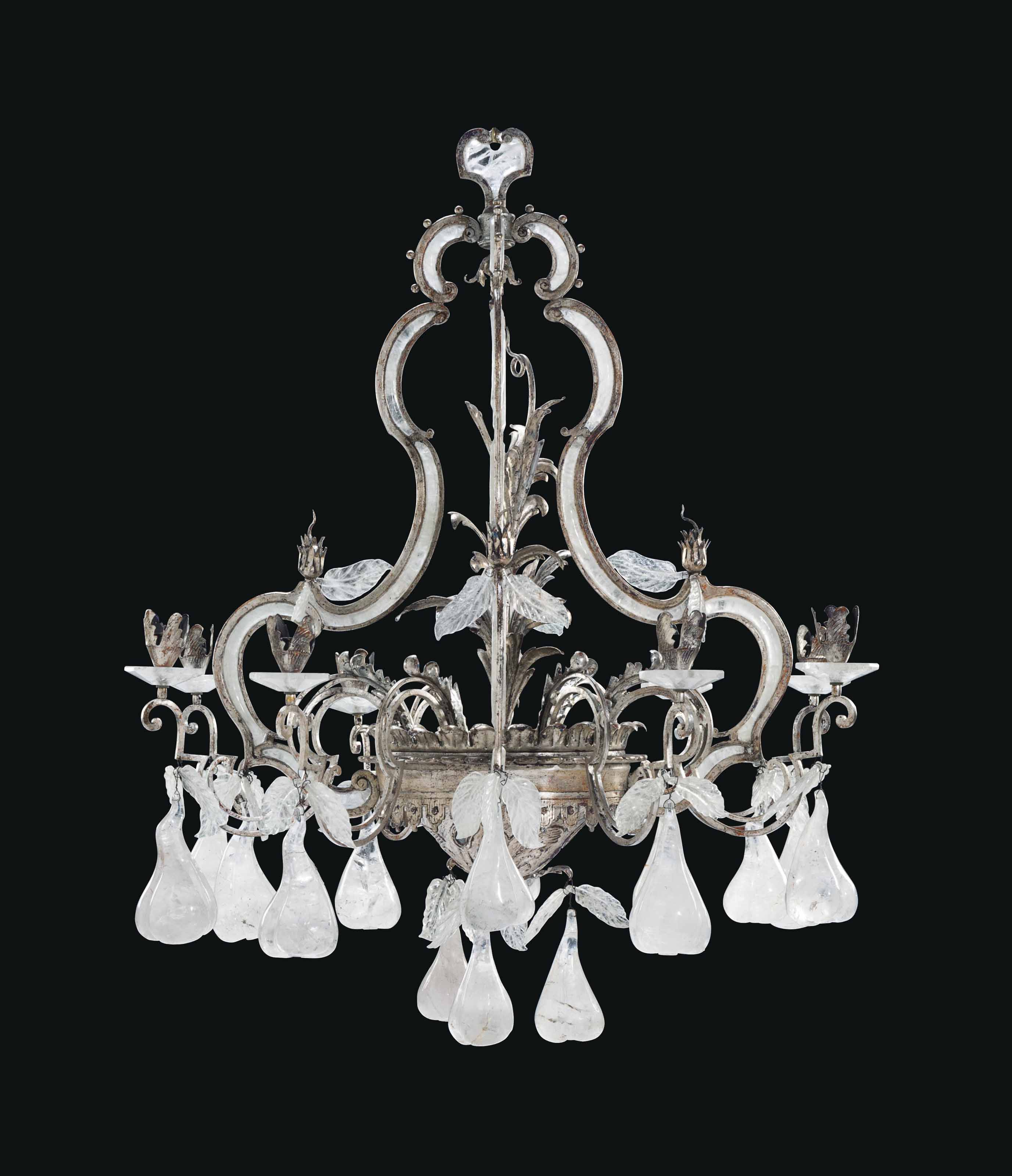 A LARGE SILVERED-METAL AND ROCK CRYSTAL EIGHT-LIGHT CHANDELIER