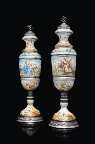 A PAIR OF AUSTRIAN SILVER AND