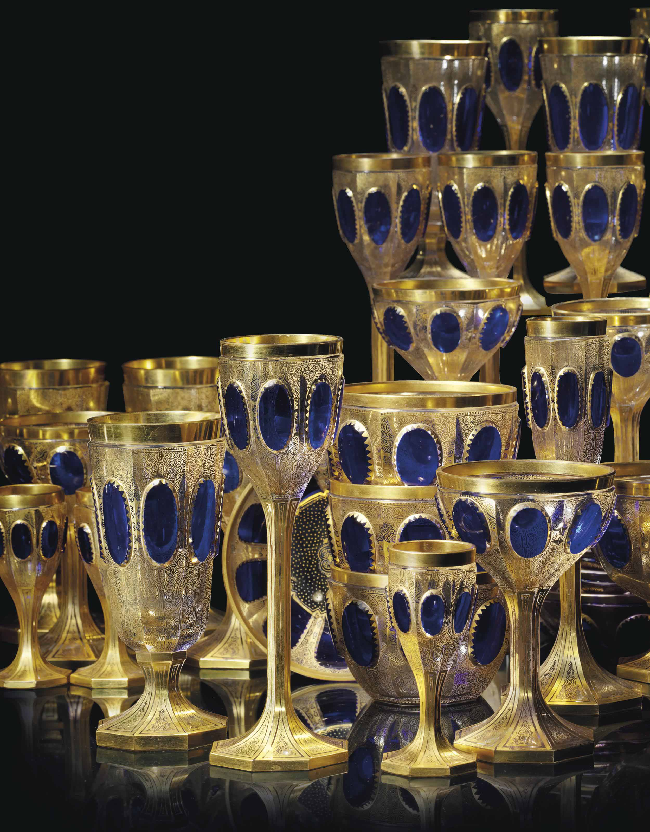 A CONTINENTAL GILT AND COBALT-