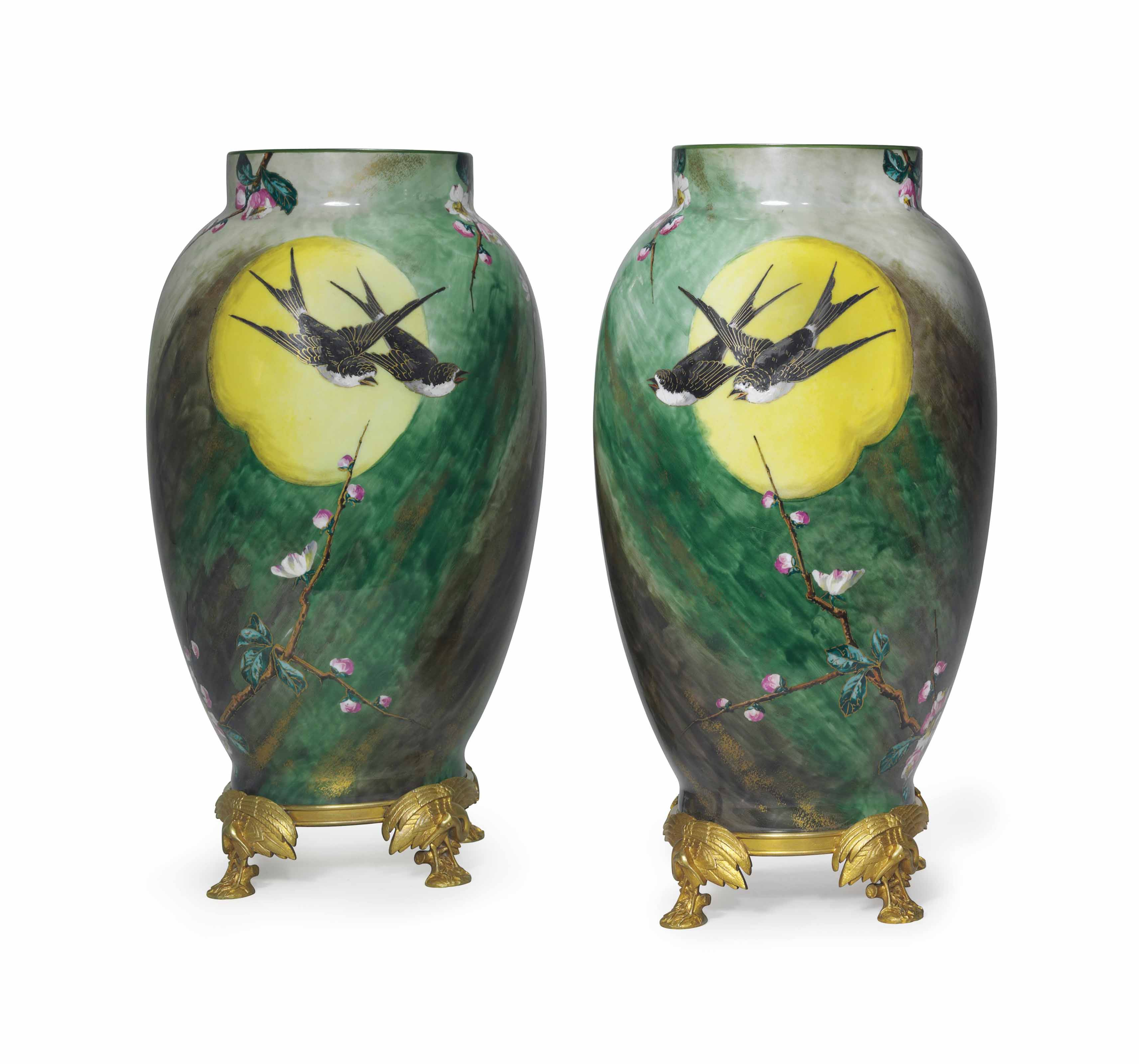 A PAIR OF ORMOLU-MOUNTED BACCARAT GLASS VASES