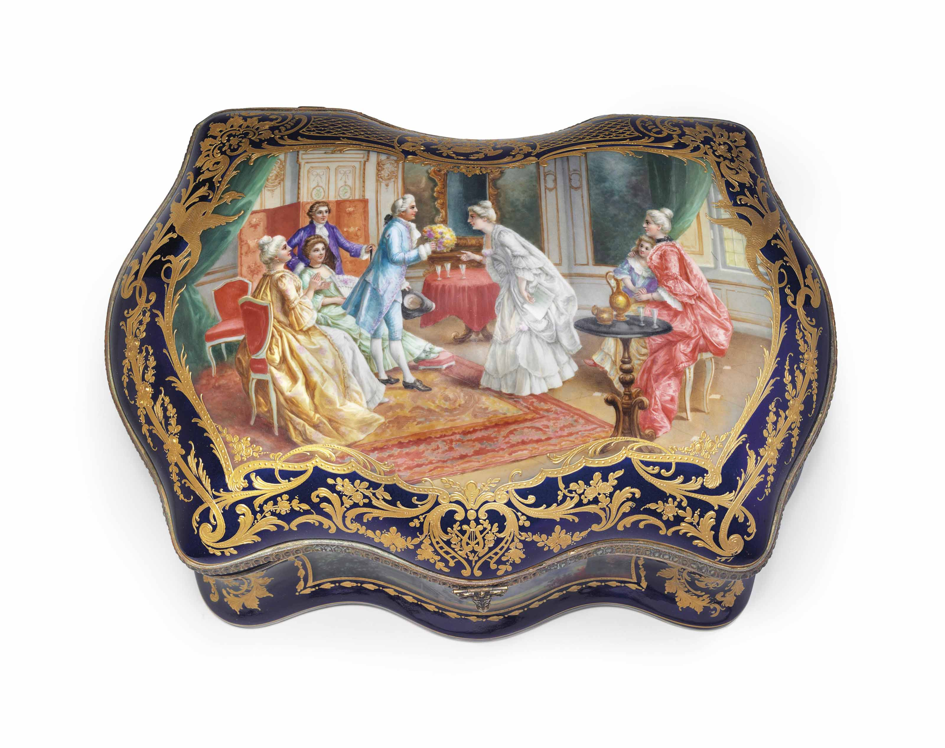 A LARGE GILT-METAL MOUNTED SEVRES STYLE PORCELAIN COBALT-BLUE GROUND JEWEL BOX AND COVER
