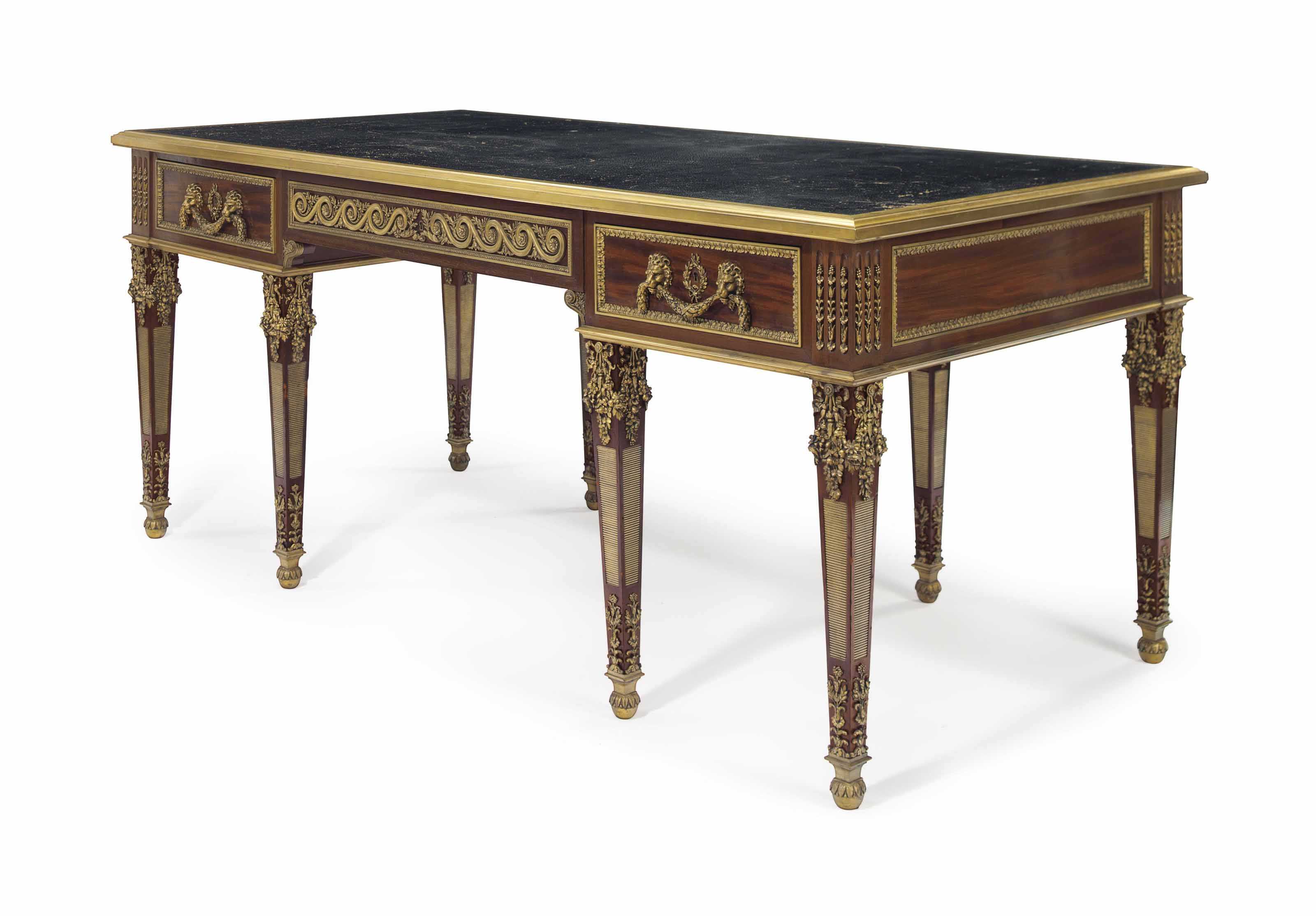 A LARGE FRENCH ORMOLU-MOUNTED MAHOGANY BUREAU PLAT