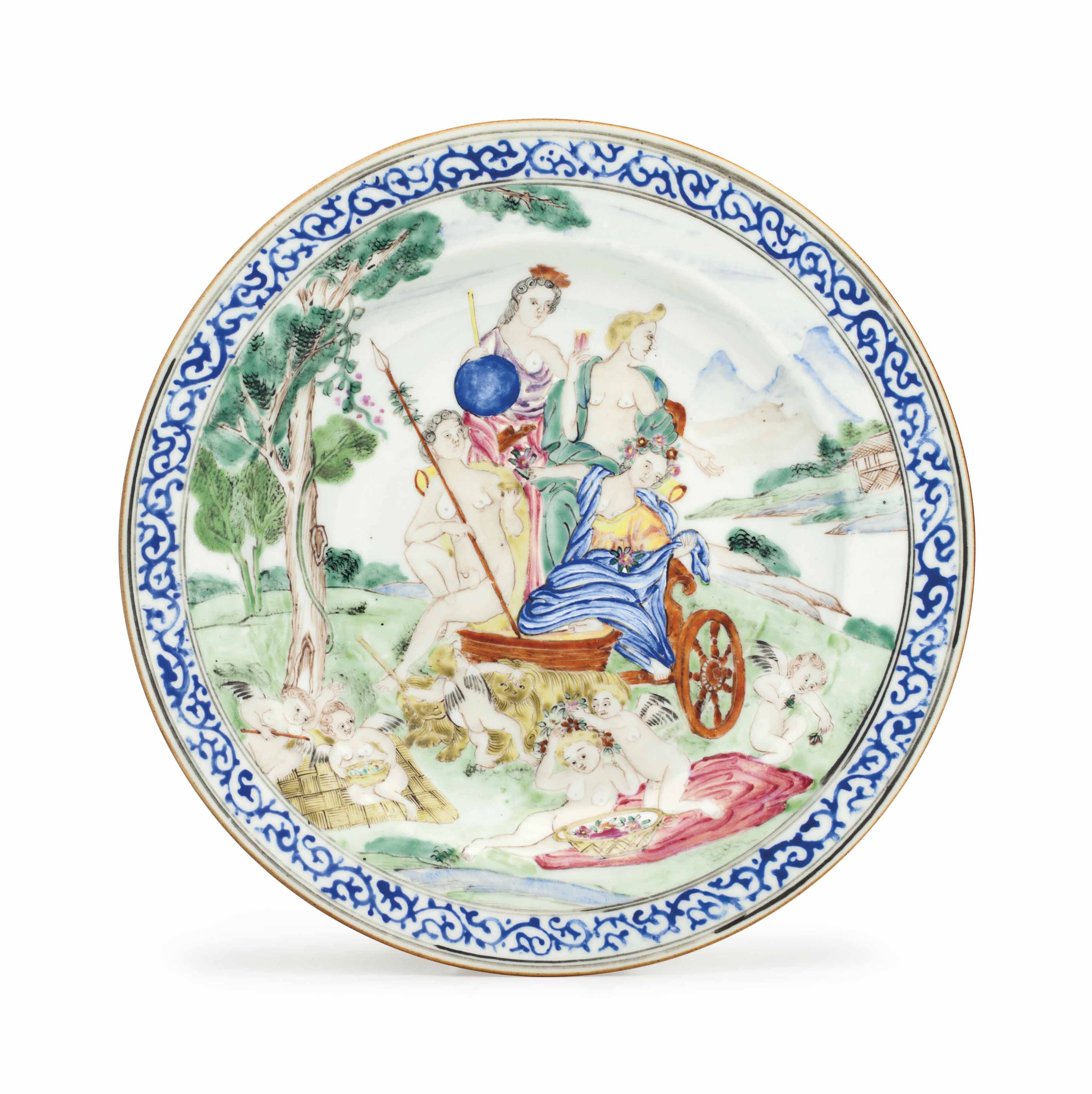 A FAMILLE ROSE 'FOUR ELEMENTS' PLATE: 'EARTH'