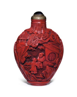 A CARVED RED LACQUER SNUFF BOT