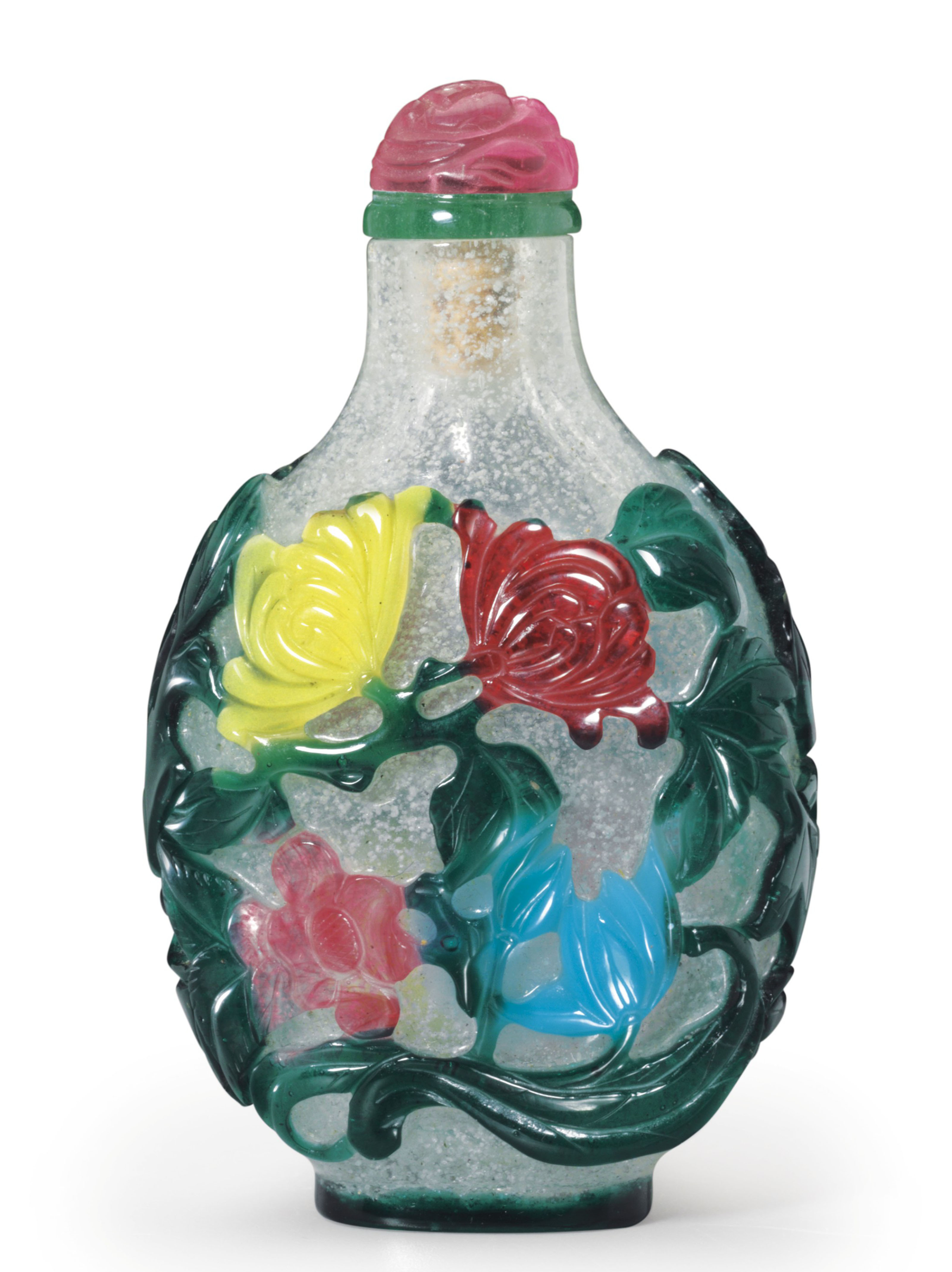 A RARE FIVE-COLOR OVERLAY CLEAR GLASS SNUFF BOTTLE