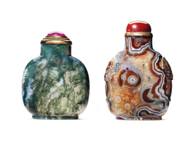 TWO AGATE SNUFF BOTTLES