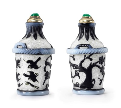 A WHITE AND BLACK-OVERLAY GLAS