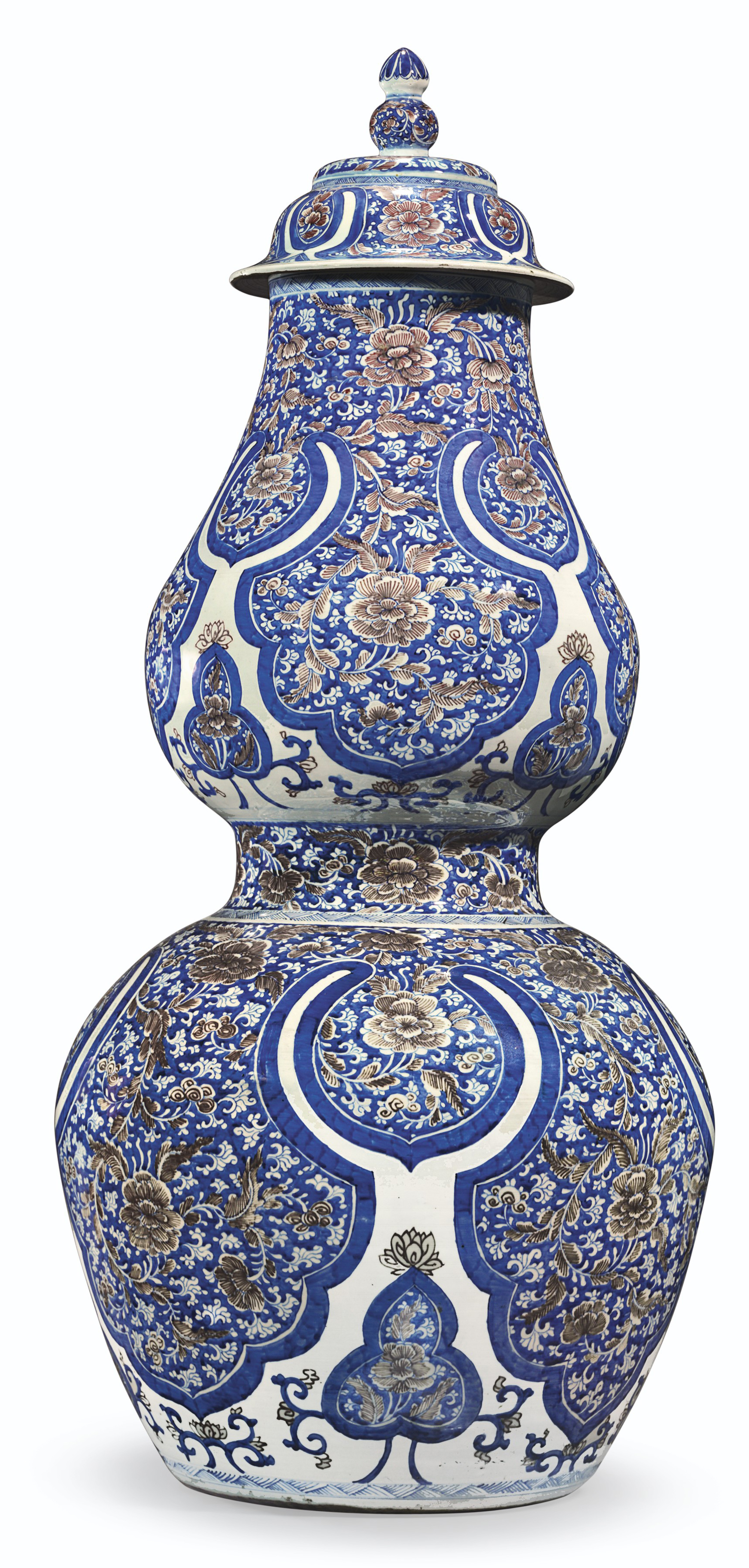 A MASSIVE PAIR OF CHINESE PORCELAIN DOUBLE-GOURD VASES AND COVERS