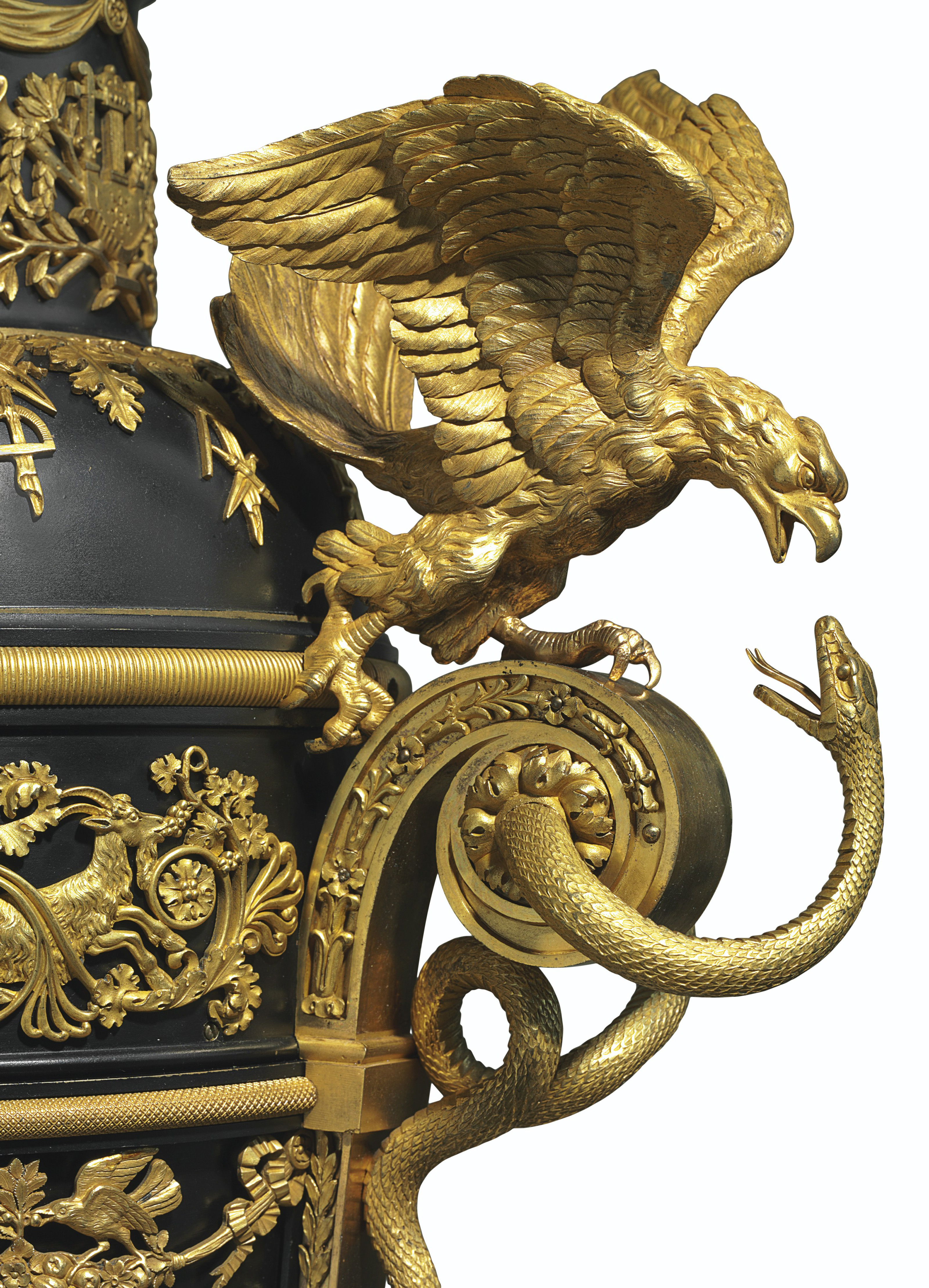 A MONUMENTAL EMPIRE ORMOLU AND PATINATED BRONZE MUSICAL 'SINGING BIRD' AND AUTOMATON CLOCK