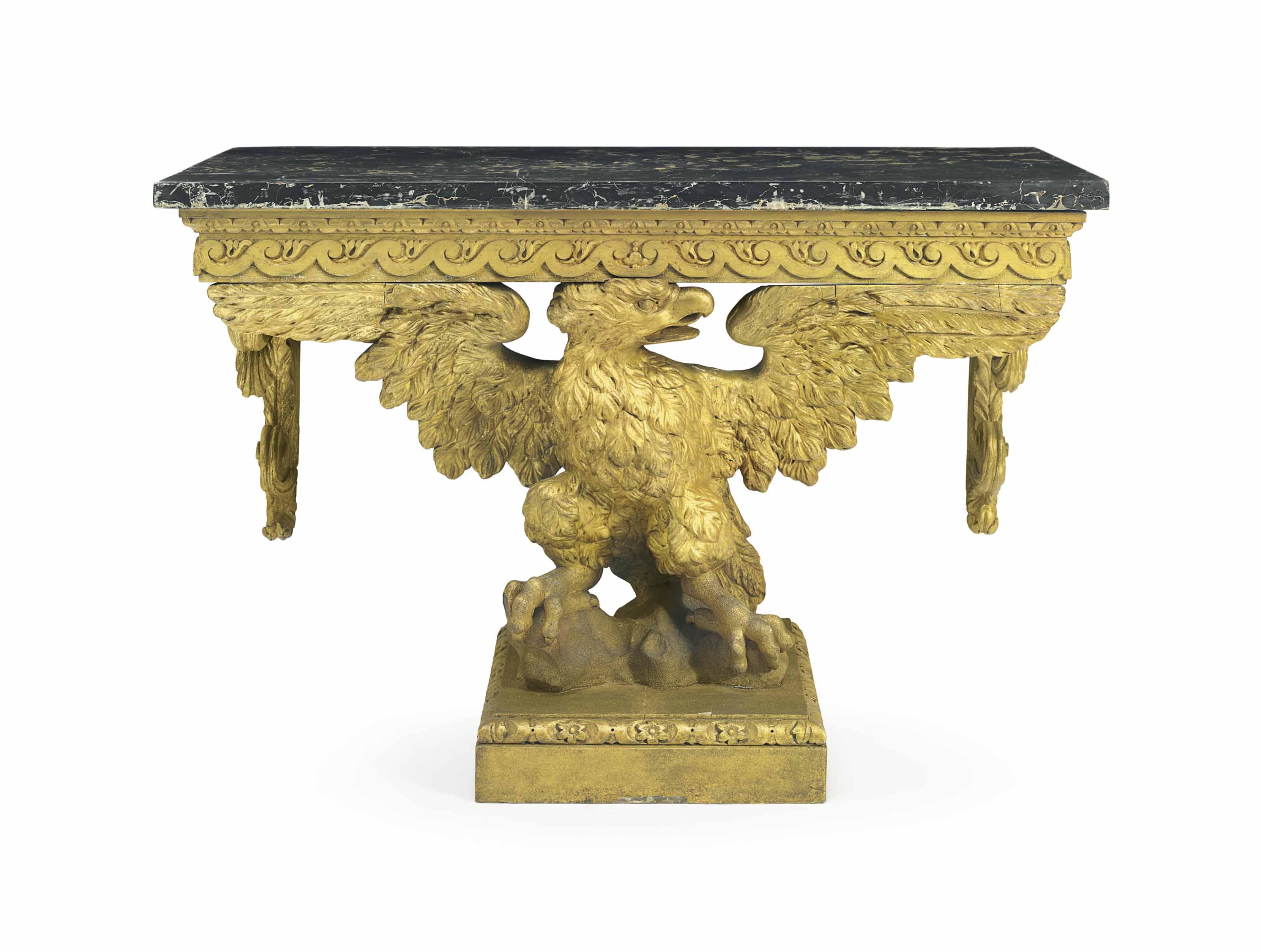 A PAIR OF EARLY GEORGE II GILTWOOD AND GILT-GESSO CONSOLE TABLES
