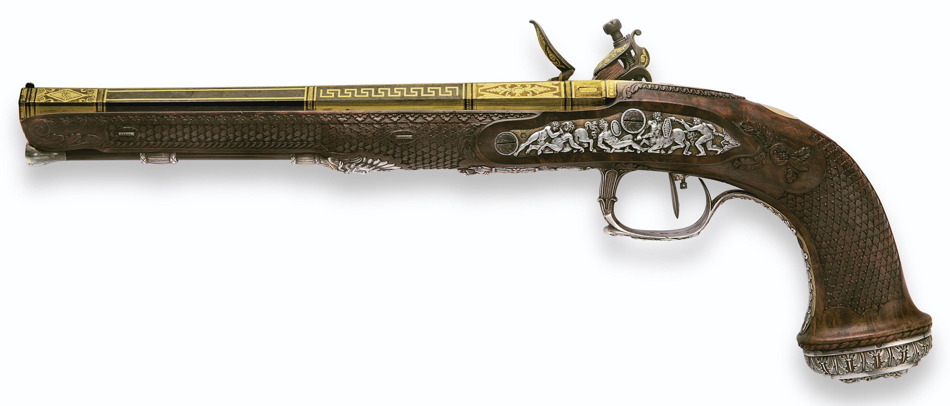 A MAGNIFICENT & IMPORTANT CASED PAIR OF FRENCH SILVER-MOUNTED RIFLED FLINTLOCK PISTOLS