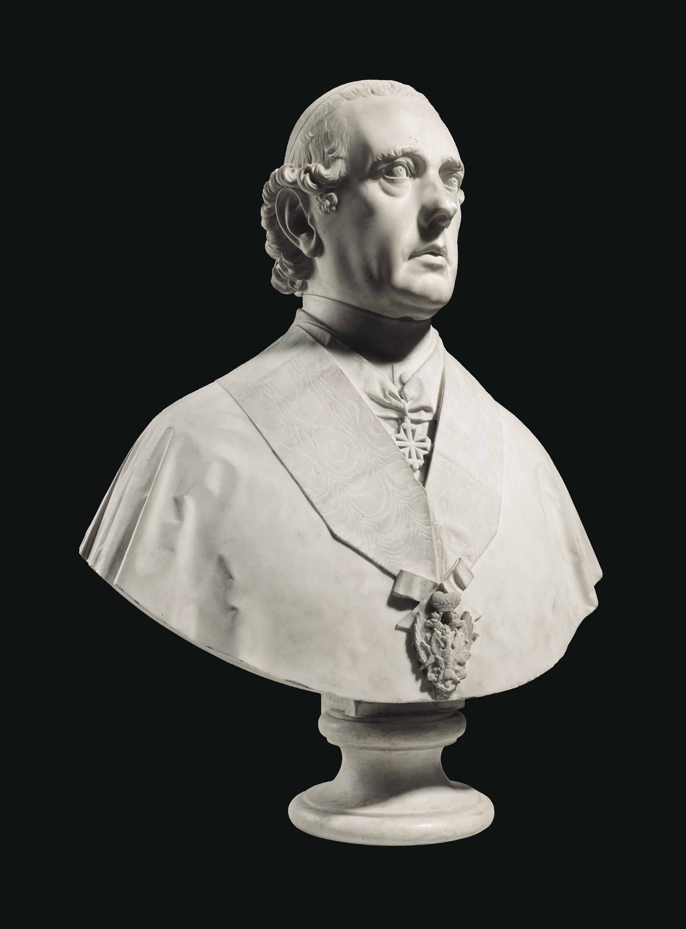 A MARBLE BUST OF A BISHOP