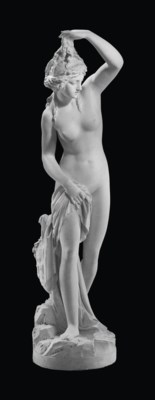 A MARBLE FIGURE OF A BATHER
