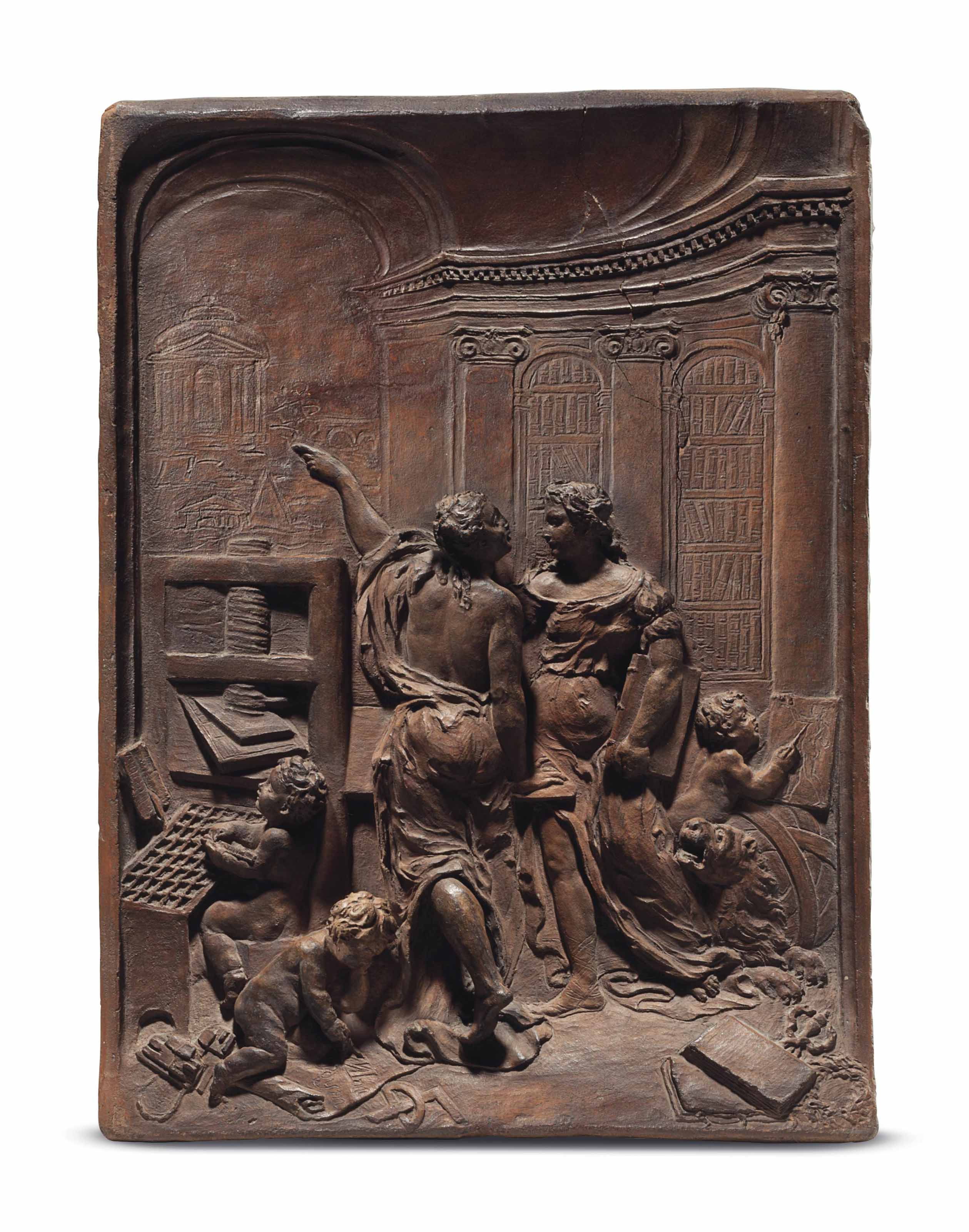A TERRACOTTA RELIEF OF AN ALLE