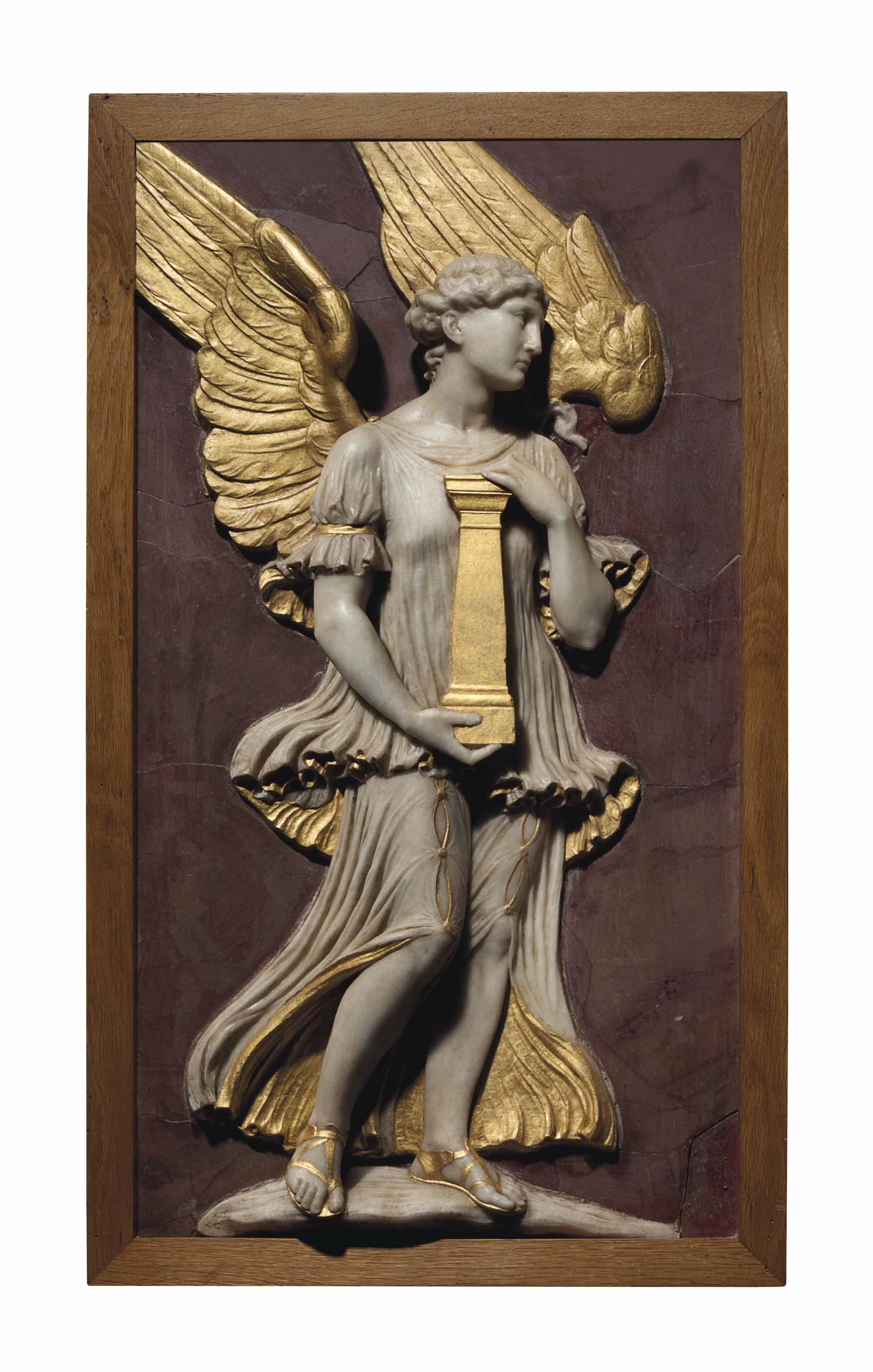 A PARCEL-GILT MARBLE RELIEF PA