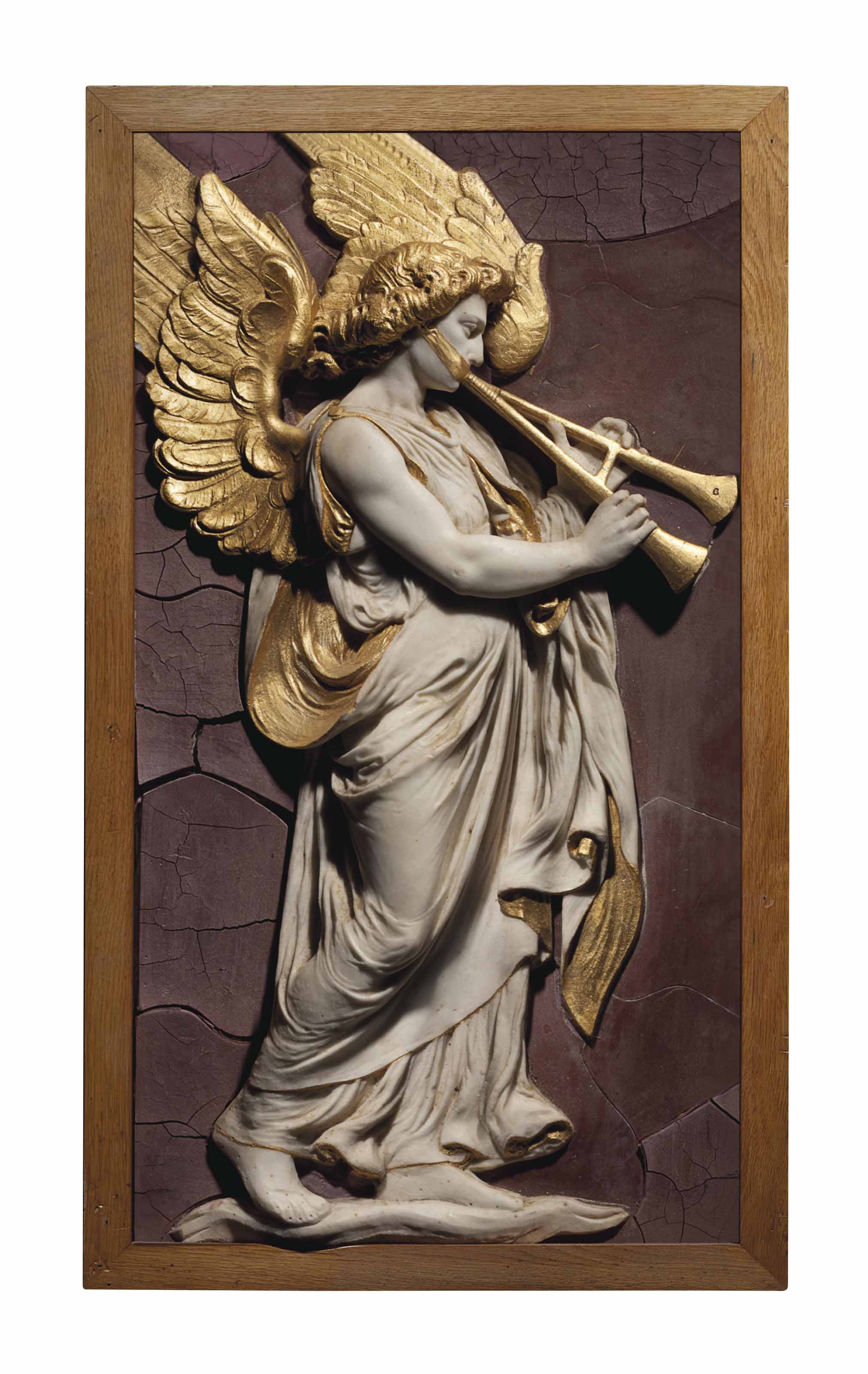 A PARCEL-GILT MARBLE RELIEF PANEL OF AN ANGEL WITH AULOS