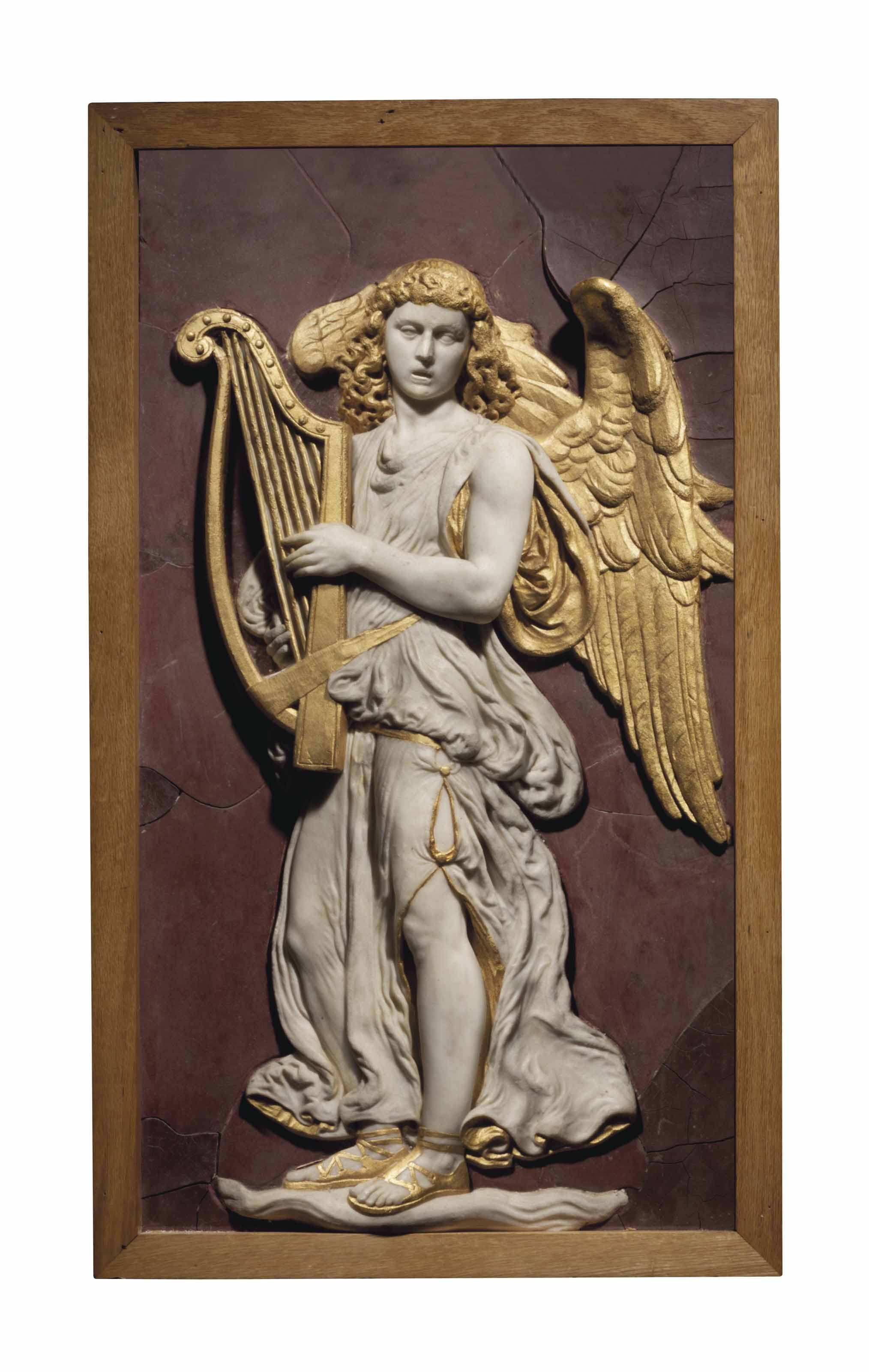 A PARCEL-GILT MARBLE RELIEF PANEL OF AN ANGEL WITH HARP