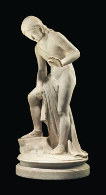 A MARBLE FIGURE OF NARCISSUS