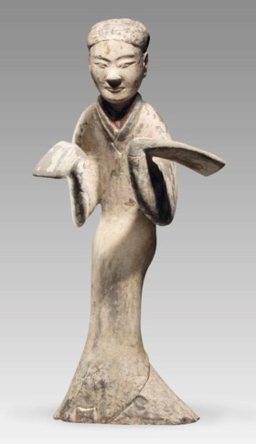 A RARE LARGE PAINTED GREY POTTERY FIGURE OF A FEMALE DANCER