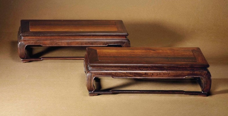 A PAIR OF BLACKWOOD TABLE-FORM
