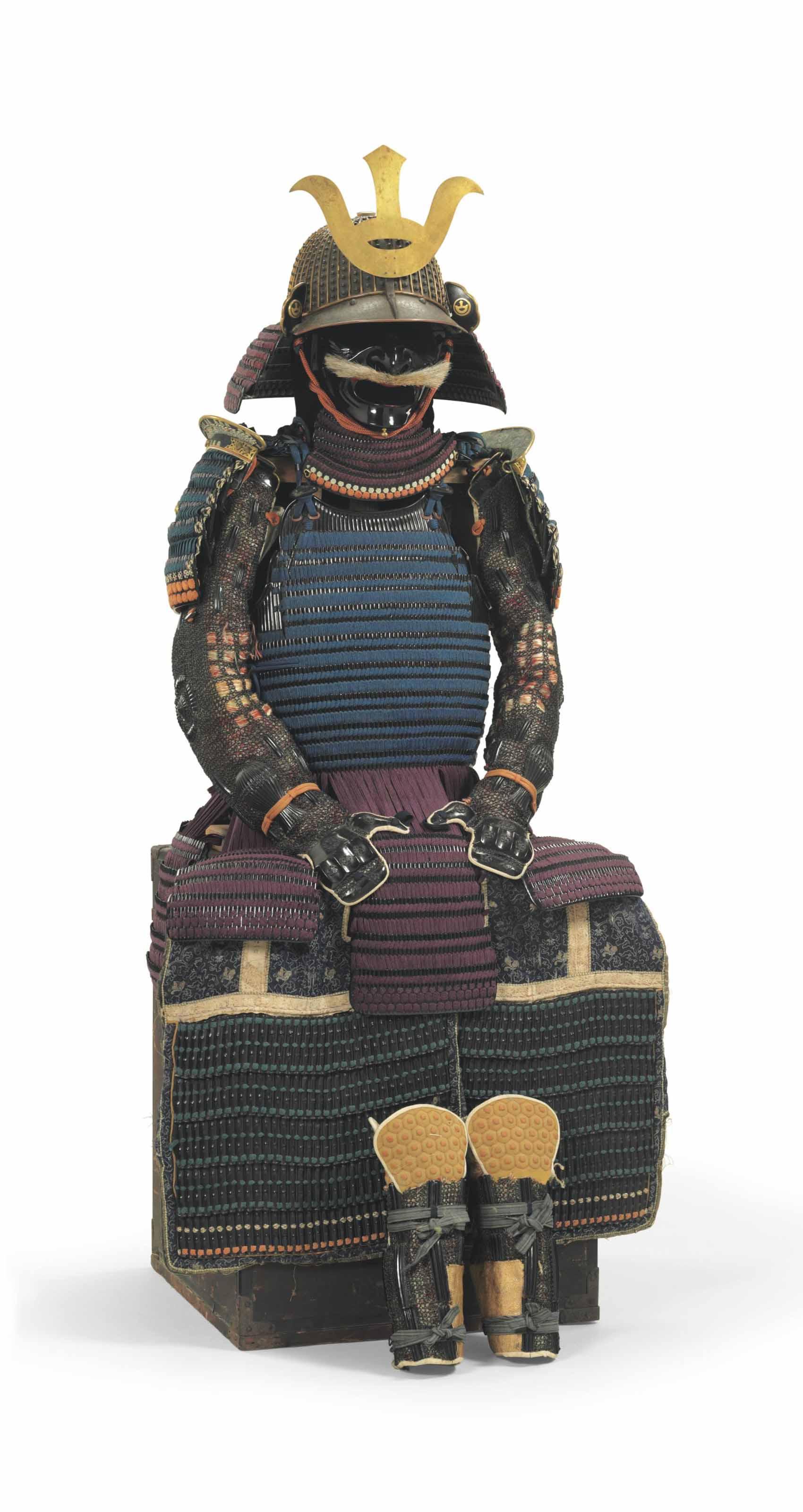 A Hanaito odoshi nimai-do gusoku (blue and purple laced two-piece cuirass armor)